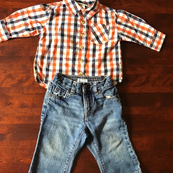 Old Navy Other - ‼️ 5/$40 Old Navy outfit, plaid shirt & jeans